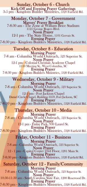 Pray Columbia Schedule